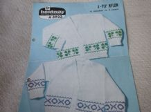 VINTAGE ORIGINAL KNITTING PATTERN BESTWAY A3923 CHILD CARDIGANS OXO CLOVER